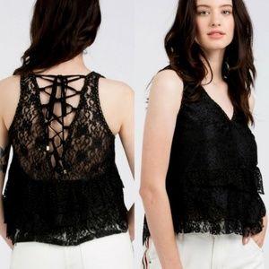 """""""The Abigail"""" Black Lace Top"""